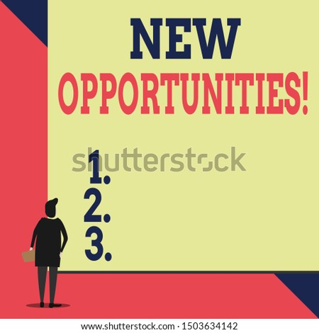 Handwriting text New Opportunities. Concept meaning exchange views condition favorable for attainment goal Back view young woman watching blank big rectangle. Geometrical background.
