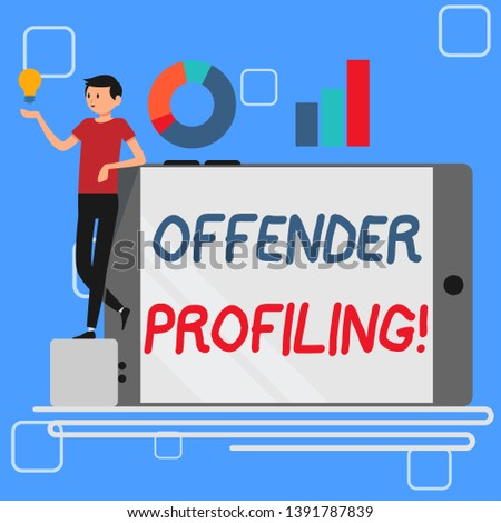 Handwriting text Offender Profiling. Concept meaning Develop profiles for offenders who not yet apprehended Man Leaning on Blank Smartphone Turned on Its Side with Graph and Idea Icon.