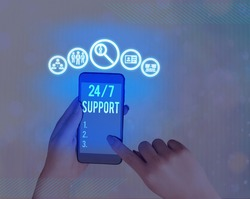 Handwriting text 24 Or 7 Support. Concept meaning twentyfour hours seven days a week support to client.