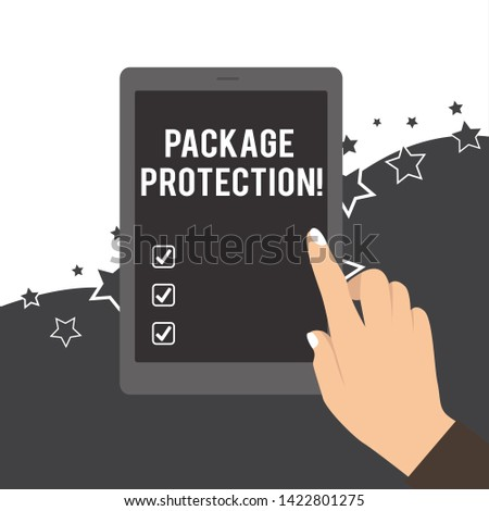 Handwriting text Package Protection. Concept meaning Wrapping and Securing items to avoid damage Labeled Box Female Hand with White Polished Nails Pointing Finger Tablet Screen Off.