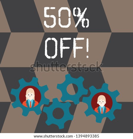 Handwriting text 50 Percent Off. Concept meaning 50 percent reduction on the original price of a product Two Business People Each Inside Colorful Cog Wheel Gears for Teamwork Event.