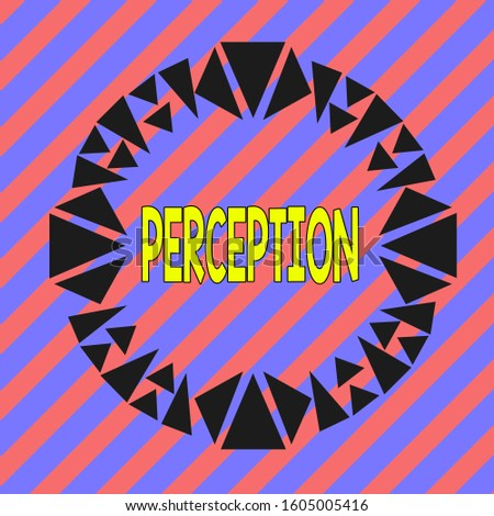 Handwriting text Perception. Concept meaning individuals organize and interpret their sensory impressions Asymmetrical uneven shaped format pattern object outline multicolour design.