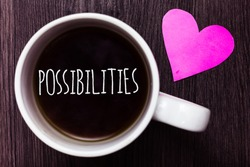 Handwriting text Possibilities. Concept meaning Things that may happen or be the case State of being possible Mug coffee lovely thoughts ideas love hart romantic memories brown wood.