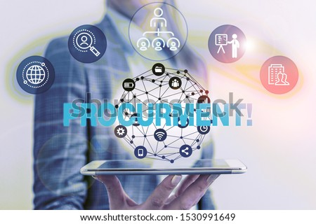 Handwriting text Procurment. Concept meaning action of acquiring military equipment and supplies Male human wear formal work suit presenting presentation using smart device. Stockfoto ©