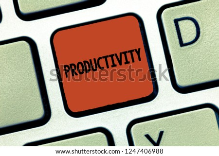 Handwriting text Productivity. Concept meaning State or quality of being productive Effectiveness Success #1247406988