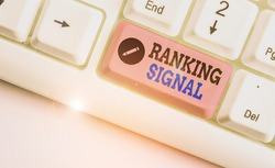 Handwriting text Ranking Signal. Concept meaning characteristic of a website that search engine algorithms.