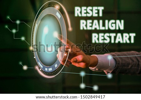 Handwriting text Reset Realign Restart. Concept meaning Life audit will help you put things in perspectives Lady presenting hand blue glow futuristic modern technology tech look contact.