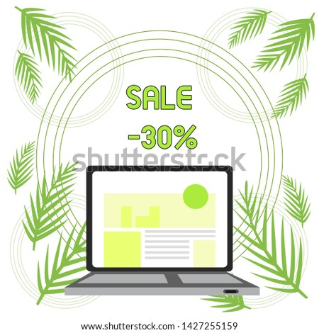 Handwriting text Sale 30 Percent. Concept meaning A promo price of an item at 30 percent markdown Open Modern Laptop Switched On with Website Homepage on Screen Web Search.