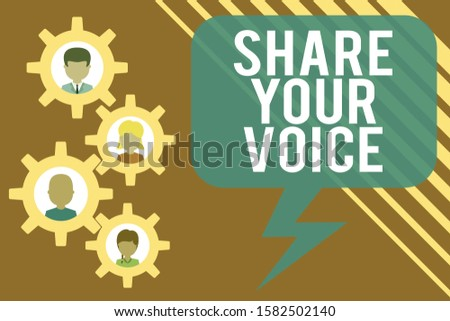 Handwriting text Share Your Voice. Concept meaning asking employee or member to give his opinion or suggestion Gearshaped picture frame family ornament mother father daughter son photo.