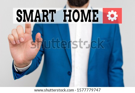 Handwriting text Smart Home. Concept meaning automation system control lighting climate entertainment systems Businessman in blue suite and white shirt pointing with finger in empty space. #1577779747