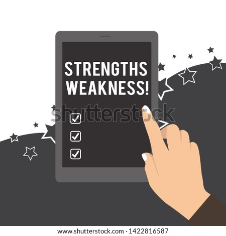 Handwriting text Strengths Weakness. Concept meaning Opportunity and Threat Analysis Positive and Negative Female Hand with White Polished Nails Pointing Finger Tablet Screen Off.