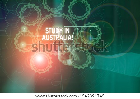 Handwriting text Study In Australia. Concept meaning going into foreign country order complete your studies Picture photo system network scheme modern technology smart device.