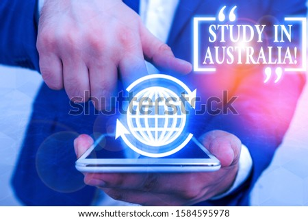 Handwriting text Study In Australia. Concept meaning going into foreign country order complete your studies.