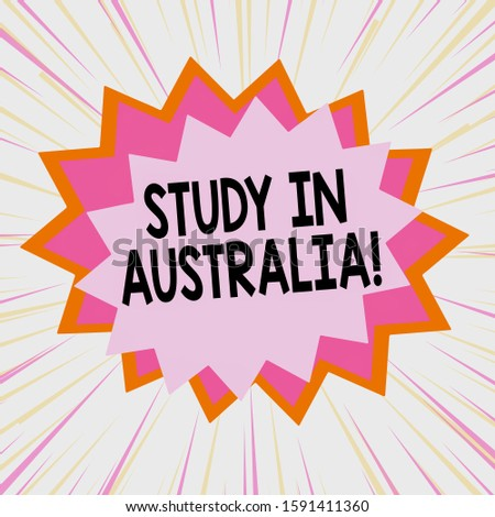 Handwriting text Study In Australia. Concept meaning going into foreign country order complete your studies Asymmetrical uneven shaped format pattern object outline multicolour design.