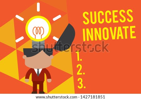 Handwriting text Success Innovate. Concept meaning make organizations more adaptive to market forces Standing successful man suit necktie surging brilliant innovative solutions.