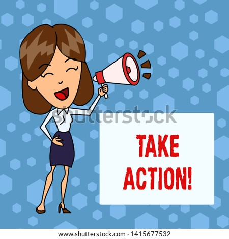 Handwriting text Take Action. Concept meaning do something official or concerted to achieve aim with problem Young Woman Speaking into Blowhorn Volume Icon Colored Backgdrop Text Box.