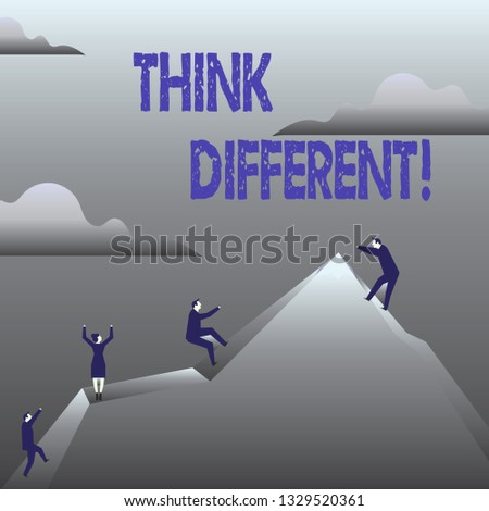 Handwriting text Think Different. Concept meaning Rethink Change on vision Acquire New Ideas Innovate.