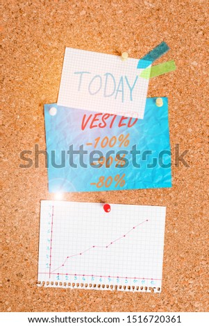 Handwriting text Vested 100 Percent 90 Percent 80 Percent. Concept meaning Eligible for Retirement Benefit based on years of Service Corkboard color size paper pin thumbtack tack sheet billboard