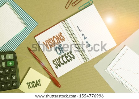 Handwriting text Visions Of Success. Concept meaning Clear End Result of Purpose Goal Perspective Plan Striped paperboard notebook cardboard office study supplies chart paper.