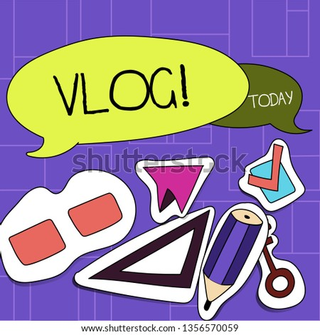 Handwriting text Vlog. Concept meaning Entertaining multimedia self broadcasting news reporting stories Two Blank Colorful Speech Balloon and Different Labels Sticker Style Icons.