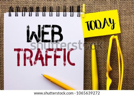 Handwriting text Web Traffic. Concept meaning Internet Boost Visitors Audience Visits Customers Viewers written on Notebook Book on the jute background Today Pens and Glasses next to it. #1065639272