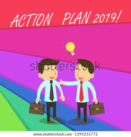 Handwriting text writing Action Plan 2019. Concept meaning proposed strategy or course of actions for current year.