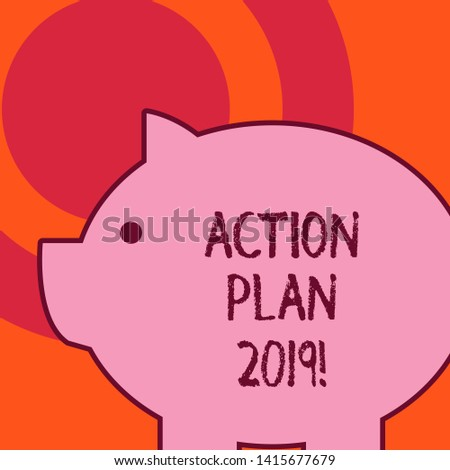 Handwriting text writing Action Plan 2019. Concept meaning proposed strategy or course of actions for current year Side view big piggy bank with abstract geometrical background flat design.