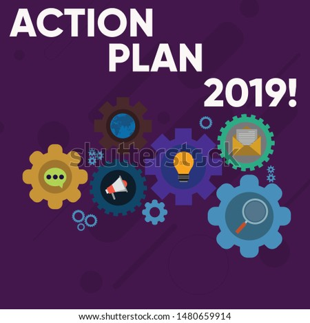 Handwriting text writing Action Plan 2019. Concept meaning proposed strategy or course of actions for current year Set of Global Online Social Networking Icons Inside Colorful Cog Wheel Gear.