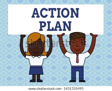 Handwriting text writing Action Plan. Concept meaning proposed strategy or course of actions for certain time Two Smiling People Holding Big Blank Poster Board Overhead with Both Hands.