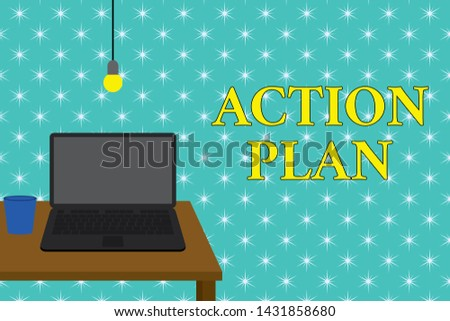 Handwriting text writing Action Plan. Concept meaning proposed strategy or course of actions for certain time Front view open laptop lying on wooden desktop light bulb falling glass.
