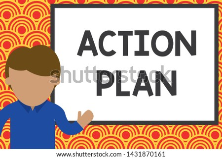 Handwriting text writing Action Plan. Concept meaning proposed strategy or course of actions for certain time Young man standing in front whiteboard pointing to project. photo Art.