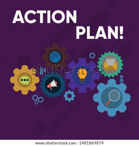 Handwriting text writing Action Plan. Concept meaning proposed strategy or course of actions for certain time Set of Global Online Social Networking Icons Inside Colorful Cog Wheel Gear.