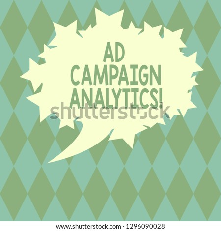 Handwriting text writing Ad Campaign Analytics. Concept meaning monitor campaigns and their respective outcomes Blank Oval Color Speech Bubble with Stars as Outline photo Text Space.