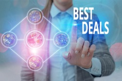 Handwriting text writing Best Deals. Concept meaning very successful transaction or business agreement or a bargain Elements of this image furnished by NASA.