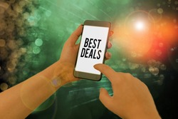 Handwriting text writing Best Deals. Concept meaning very successful transaction or business agreement or a bargain.