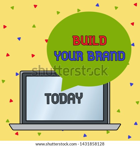 Handwriting text writing Build Your Brand. Concept meaning enhancing brand equity using advertising campaigns Round Shape Empty Speech Bubble Floating Over Open Laptop Colored Backdrop.