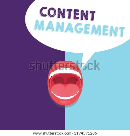 Handwriting text writing Content Management. Concept meaning Process that collects manage and publish information