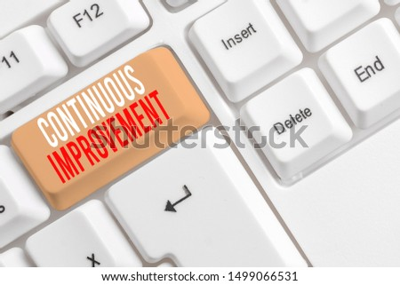 Handwriting text writing Continuous Improvement. Concept meaning ongoing effort to improve products or processes White pc keyboard with empty note paper above white background key copy space.