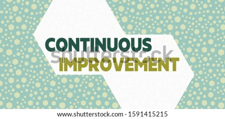 Handwriting text writing Continuous Improvement. Concept meaning ongoing effort to improve products or processes Randomly Scattered Blue Hexagons Seamless Sexangles Matching Background.