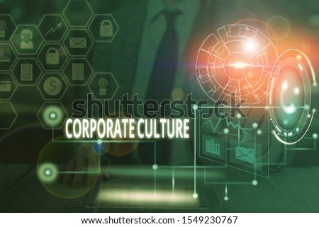 Handwriting text writing Corporate Culture. Concept meaning pervasive values and attitudes that characterize a company Picture photo system network scheme modern technology smart device.