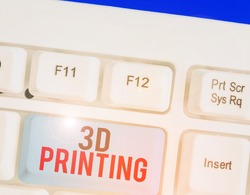 Handwriting text writing 3D Printing. Concept meaning making a physical object from a threedimensional digital model.