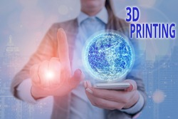 Handwriting text writing 3D Printing. Concept meaning making a physical object from a threedimensional digital model Elements of this image furnished by NASA.