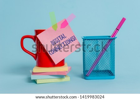Handwriting text writing Digital Connections. Concept meaning Powerful Ways to Connect Online Global High Definition Cup note arrow banners stacked pads metal pen holder pastel background. #1419983024