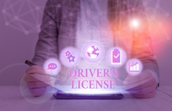 Handwriting text writing Driver S License. Concept meaning a document permitting a demonstrating to drive a motor vehicle.