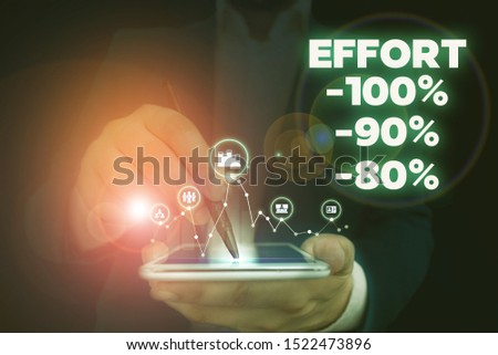 Handwriting text writing Effort 100 Percent 90 Percent 80 Percent. Concept meaning Level of determination discipline motivation Male human wear formal work suit presenting presentation using smart
