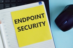 Handwriting text writing Endpoint Security. Concept meaning the methodology of protecting the corporate network. Pencil, square, notebook, blue color background
