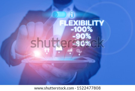 Handwriting text writing Flexibility 100 Percent 90 Percent 80 Percent. Concept meaning How much flexible you are maleability level Male human wear formal work suit presenting presentation using smart
