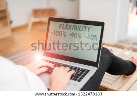 Handwriting text writing Flexibility 100 Percent 90 Percent 80 Percent. Concept meaning How much flexible you are maleability level woman laptop computer office supplies technological devices inside