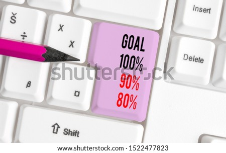 Handwriting text writing Goal 100 Percent 90 Percent 80 Percent. Concept meaning Percentage of your objectives fulfilment success level White pc keyboard with empty note paper above white background