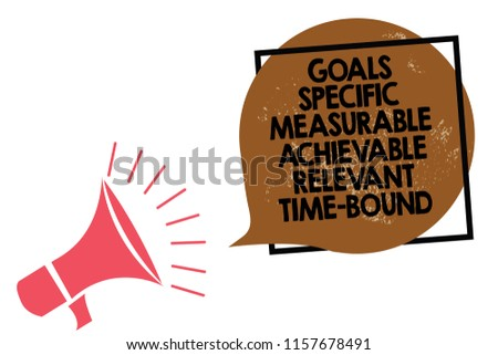 Handwriting text writing Goals Specific Measurable Achievable Relevant Time Bound. Concept meaning Strategy Mission Megaphone loudspeaker speaking loud screaming frame brown speech bubble.